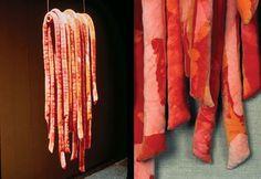 Orange Batik tubes, Kiyomi Iwata, 1978 Textiles, Fibre Art, Made Clothing, Textile Artists, Scissors, Collage, Orange, Fabric, Color