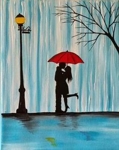 Original Couple in rain paintingCouple kissing in by ArtbyRangrez