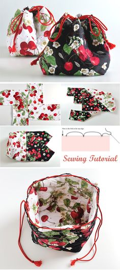 Good Snap Shots japanese Sewing patterns Suggestions Tutorial: How to Make a Patchwork Drawstring Bag Japanese Bag, Japanese Style, Fabric Bags. Drawstring Bag Diy, Drawstring Bag Tutorials, Drawstring Bag Pattern, Sewing Hacks, Sewing Tutorials, Sewing Crafts, Sewing Tips, Sewing Ideas, Fabric Bags