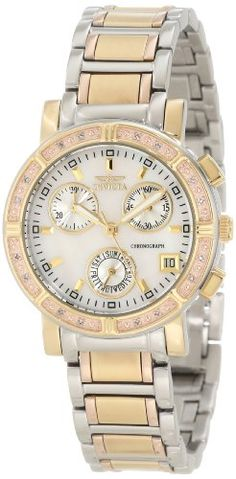Women's Wrist Watches - Invicta Womens 10321 Diamond Accented Chronograph White MotherOfPearl Dial TriTone Stainless Steel Watch * More info could be found at the image url.