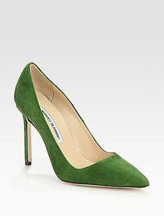 Manolo Blahnik  BB Suede Point-Toe Pumps.  Love that green