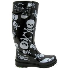 Ladies Black# Skull Goth Wellies #Wellington #Boots