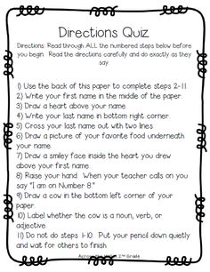 Have You Given The Sneaky Directions Quiz?