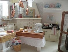 cozy and sweet white kitchen--it's a miniature! I want a big one like this...