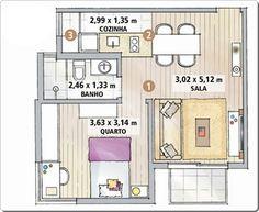 Planta baixa de um apartamento pequeno e bem decorado de 43 m2