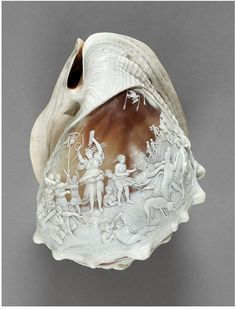 Diana at the hunt. Italy 1850 Carved helmet shell
