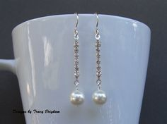 Wedding 2mm Rhinestone Chain Swarovski Pearl Dangle Earrings Bridal Jewelry Bridesmaid Maid of Honor Gift