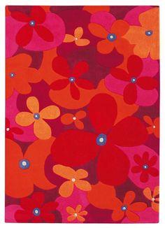 Floral kids rug for #girlsrooms, handmade and anti-allergic. | Flower Power #bloemenvloerkleed uit de Colourful Summer kinderkleden collectie van Arte Espina.