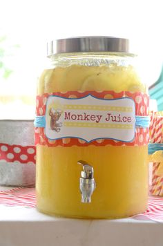 "Monkey Juice for a baby shower or birthday party: ""best lemonade"" recipe floating around Pinterest: 1 cup Countrytime Lemonade mix, 2 cups cold water, 1 can of chilled pineapple juice {46 oz}, 2 cans chilled Sprite = best lemonade stand in the neighborhood."