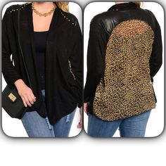 STYLISH TAUPE BLACK TOP Love this open front long sleeve top features a loose fit with embellished shoulder accent. Contrast animal inspired printed back. Available sizes: XL, 2X, 3X. Fabric Content: 95% POLYESTER 5% SPANDEX Tops