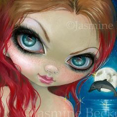 Faces of Faery 222 Jasmine Becket-Griffith big eye art lowbrow art - Fairy Face painting featuring dolphin mermaid fantasy, big eyes Strangeling fantasy