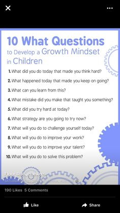 Questions to help with a Growth Mindset