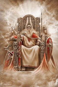 odin sits on his throne in Valhalla