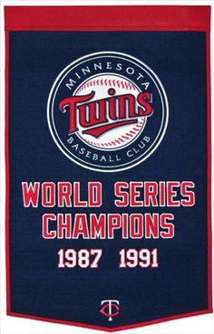 Minnesota Twins Winning Streak Dynasty Banner - Large 38x24 banner that lists Twins World Series years - Embroidery and applique detail on wool blend felt