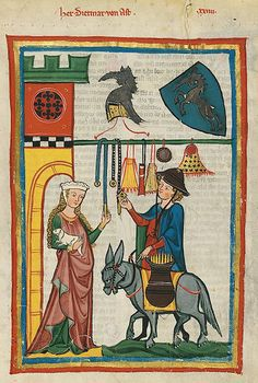 Dietmar von Aist shows a variety of purses and belts to his love interest while disguised as a peddler in the Manesse Codex, circa Zürich, Heidelberg, Universitätsbibliothek Medieval Market, Medieval Life, Medieval Fashion, Medieval Clothing, Medieval Manuscript, Illuminated Manuscript, Medieval Embroidery, Renaissance Kunst, Book Of Hours