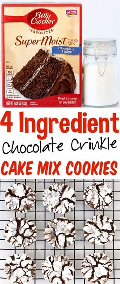 4 Ingredients - The Frugal Girls - Easy Chocolate Crinkle Cookies Recipe! Just 4 ingredients including delicious chocolate cake mix, and you've got yummy crinkles! Perfect for holiday parties and cookie exchanges! Cake Mix Cookie Recipes, Cake Mix Cookies, Best Cookie Recipes, Cookies Et Biscuits, Cupcakes, Cake Recipes, Brownie Cookies, Cream Cookies, Punch Recipes