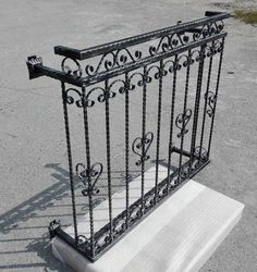 Vintage Wrought Iron French Balcony Railing Unit Balustrades Handmade Handrail - All About Balcony Balcony Grill Design, Window Grill Design, Iron Balcony, Balcony Railing, Balcon Juliette, French Balcony, Paris Balcony, Balcony Garden, Wrought Iron Stair Railing
