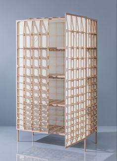 Dutch designer Mieke Meijer has created a storage cabinet based on the wood-and-fabric structure of early 20th-century aeroplane wings
