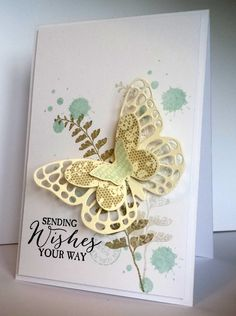 Stampin' Up! ... hand crafted card from The Stamping Shed ... grunge and stamped off fern ... triple layered butterfly from die cuts ... soft colors ... luv it!