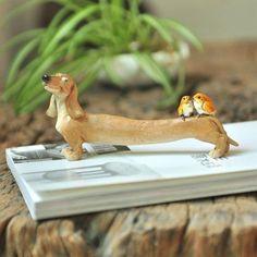 Dog Sculpture Durable Dachshun Birds Statue Home Garden Decor Miniature Fairy  #TopCollection