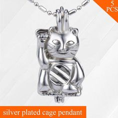 Bulk of 5pcs Pick cages pendant MY LUCKY CAT pearl locket Pearl Pendant  Necklace 6c26aaddb587