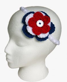 Red, White and Blue #Crochet headband.  Memorial Day or Fourth of July