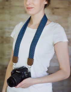 DSLR Camera Strap  Blue Denim Polka Dots by ImaniStudio on Etsy