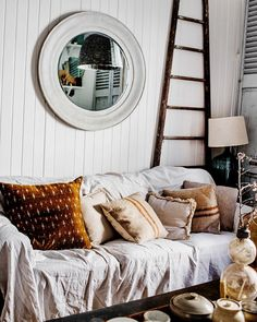 Back home. where drop sheets moonlight as sofa covers. White Couch Cover, Couch Covers, White Couches, Rustic Interiors, Cozy House, Outdoor Furniture, Outdoor Decor, Sweet Home, Living Room