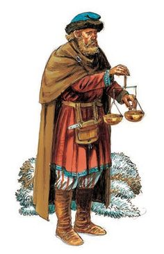 A Viking merchant with his scales