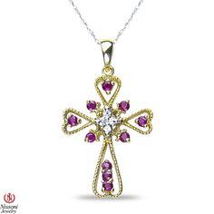 Ebay NissoniJewelry presents - Ladies .06CT Diamond Cross Pendant with Ruby in 10k Yellow Gold    Model Number:P6835A-Y077RU    http://www.ebay.com/itm/Ladies-.06CT-Diamond-Cross-Pendant-with-Ruby-in-10k-Yellow-Gold/221630380476