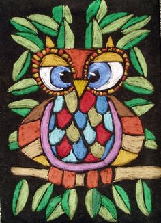 Oil Pastel Owl on Velvet Paper