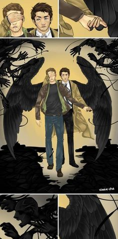 Cas protecting Dean from his nightmares.