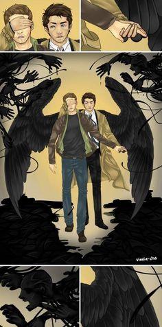 Cas protecting Dean from nightmares Funny Supernatural Memes, Supernatural Drawings, Supernatural Fan Art, Castiel, Misha Collins, Gabriel Spn, Destiel Fanart, Angels And Demons, Superwholock