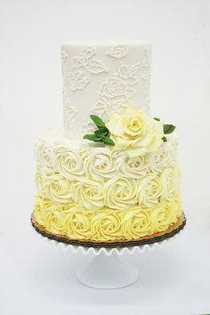 Yellow Rose Ombre Cake by Kelsey Elizabeth Cakes Yellow Birthday Cakes, 80 Birthday Cake, 16th Birthday, Black Wedding Cakes, Beautiful Wedding Cakes, Dream Wedding, Wedding Cake Designs, Wedding Cupcakes, Wedding Ideas