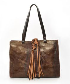 Look what I found on #zulily! Brown Python Embossed Leather Tote by Carla Mancini #zulilyfinds