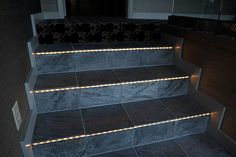 Aging Beautifully: Universal Design Features of Green Mountain Ranch --- LED tread lights on all stairs for safety.