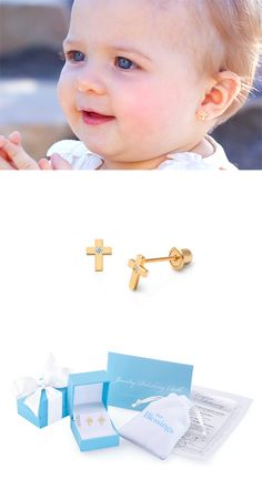 "Tiny Gold Cross Earrings for Baby. Perfect baby gift for any occasion like Baptism or Christening. Comes with packaging to ""Wow""."