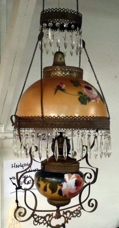 Antique victorian chandelier oil parlor hanging lamp crystals floral pittsburgh ornate hanging oil lamp w glass prisms glass shades in good condition aloadofball Images