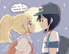 Sun and Moon male protagonist and Lillie