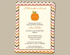 Little Pumpkin Girl Baby Shower Invitations, Pink Chevron Stripes Fall Pumpkin Theme, Set of 10 Printed Cards and Envelopes, Free Shipping on Etsy, $7.50