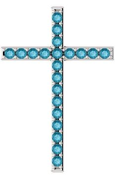 """""""Jesus saith unto him, I am the way, the truth, and the life: no man cometh unto the Father, but by me"""" (John London Blue Topaz Cross Pendant in. Cross Jewelry, Cross Necklaces, Topaz Jewelry, Cross Designs, Gold Cross, London Blue Topaz, Topaz Gemstone, Cross Pendant, White Gold"""