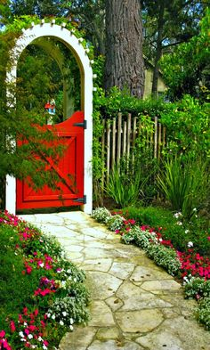 Colourful Entrance ~ love the idea of adding colour to the traditional garden gate and that beautiful pathway
