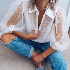 Women Turn-down Collar Transparent Mesh Shirt Polka Dot Lantern Sleeve Sexy Blouse Solid Summer Shirts Sexy Blouse, Collar Blouse, White Blouse Outfit, Look Zara, Organza, Polka Dot Shirt, Polka Dots, Lookbook, Summer Shirts