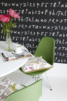 Such a fun wallpaper for an accent wall. The color version is just as fun as the black and white!