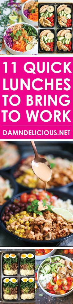 11 Quick Lunches to Bring to Work - These recipes are so stinking easy - from chicken burrito bowls, lo mein meal prep, and even Starbucks copycat chicken and hummus boxes! You will save so much money yet all your co-workers will be so jealous of your healthy, homemade lunch!