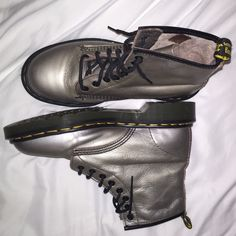 silver dr.martens worn twice, perfect condition (size runs big) Dr. Martens Shoes Lace Up Boots