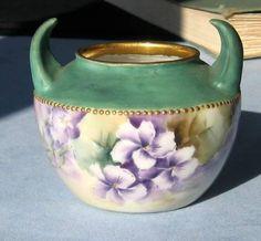 R C Small Porcelain Violet Vase. 6 cm