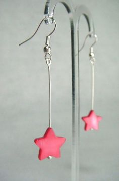 Mother of Pearl Star Drop Earrings - Fuchsia - £5.50 at http://jewellerybyrebecca.co.uk/mpe010