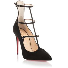 Christian Louboutin Toerless Muse black suede pump ($995) ❤ liked on Polyvore featuring shoes, pumps, heels, schuhe, high heels stilettos, black pointed toe pumps, suede pumps, high heel pumps and black stiletto pumps