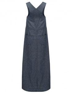 Maxi-Jeanskleid mit hoher Taillenlinie und Schnürbindung. Origineller Rueckenauschnitt verleiht dem Kleid Charakter  <3 #maxikleid #jeanskleid #schnuerbindung #rueckenausschnitt #showrooomde #blau #sale #aktion